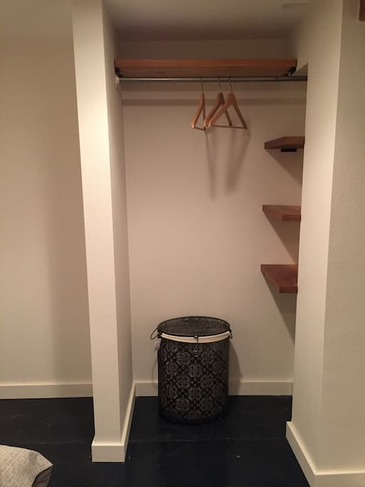 Closet for hanging clothes.