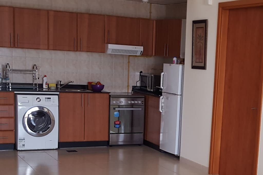 Gas stove available for cooking + kettle, microwave, toaster, fridge.