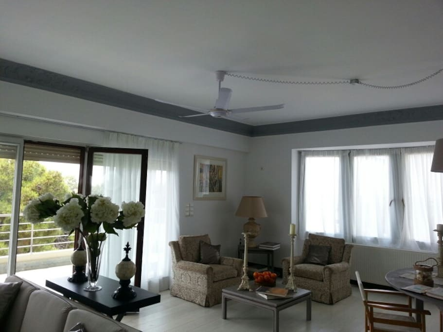 living room with the ceiling fans