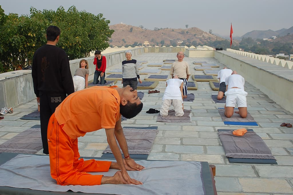 yoga session with guest
