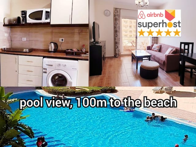 Pool 100m Beach free Wifi 2 double beds Orfi ok