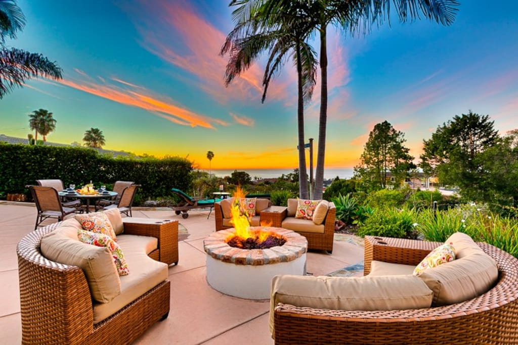 Relax by your private fire pit while enjoying ocean views