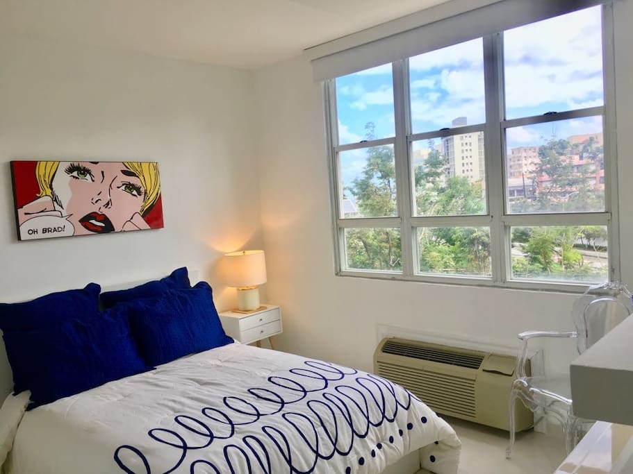 The Master Room has a modern avant- guarde style and offers a beautiful metropolitan view out the window. The room has ample space, drawers and a 42 inch smart TV