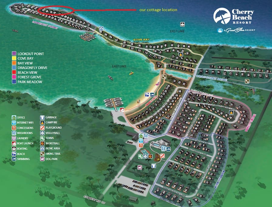 Resort Map - our cottage is located at the Lookout Point area