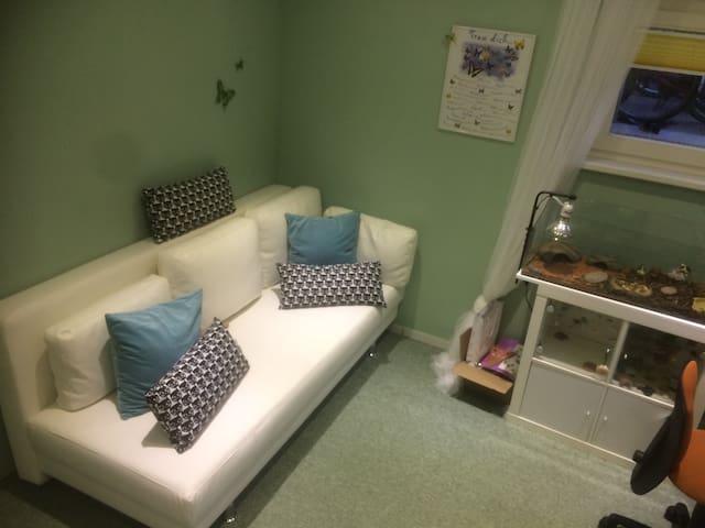 1. Zimmer mit Schlafsofa und Schildkrötenterrarium (im Sommer nicht benutzt)