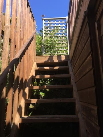 Outdoor steps up to the accommodation
