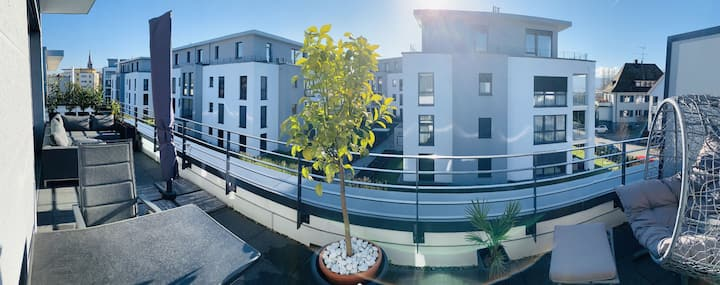 Ferienwohnung Seevillenpark, (Radolfzell am Bodensee), Wohnung Penthouse, 68qm, 1 Schlafzimmer, Balkon, max. 2 Personen