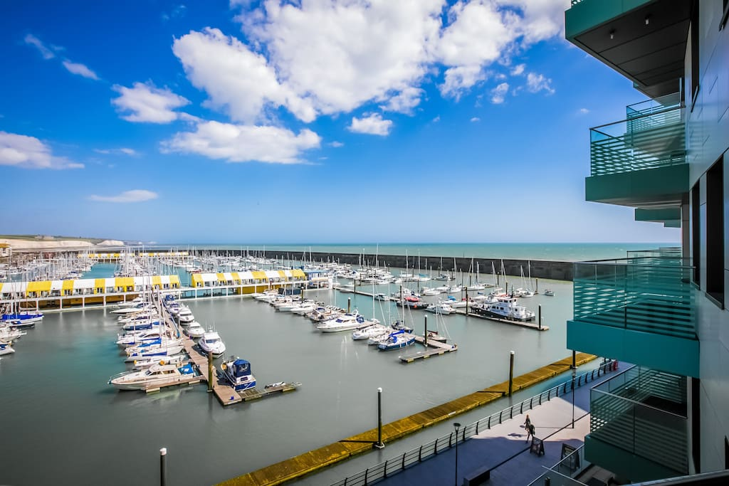 View from the terrace, across the marina and out to sea