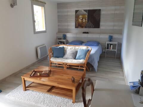 Jolie chambre lumineuse avec petite terrasse