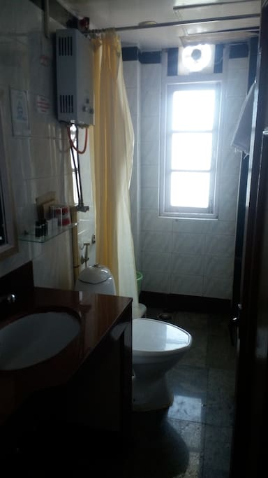 The attached bathroom