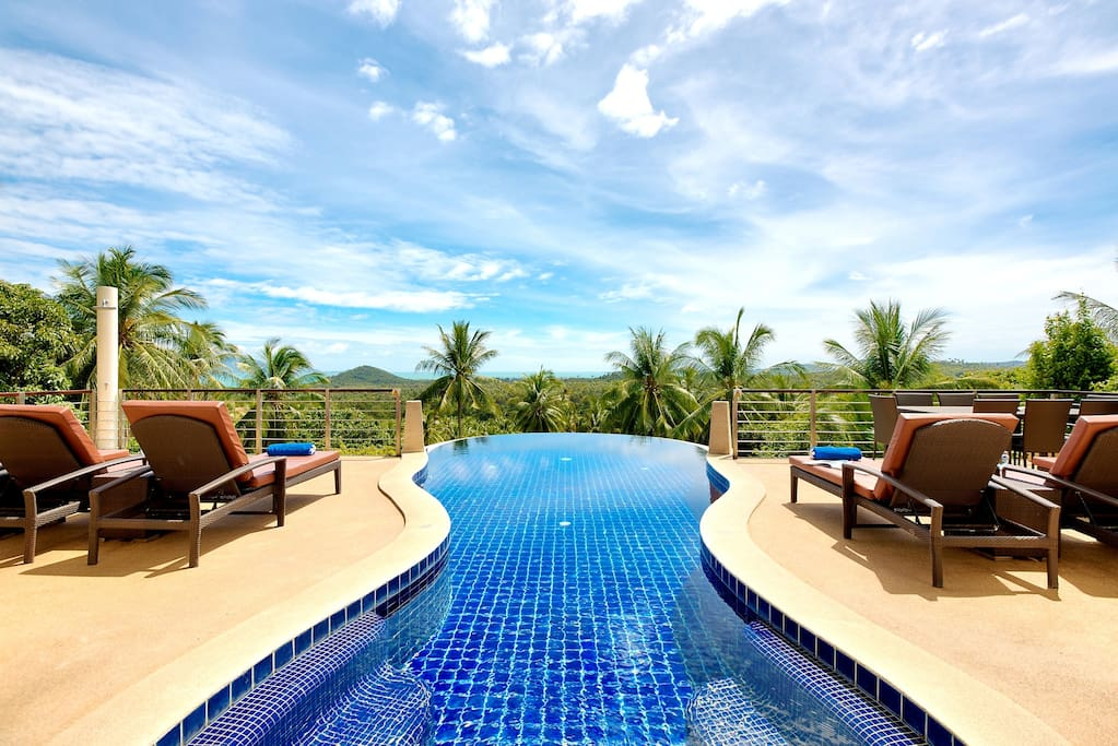 Large infinity-edged private pool with amazing backdrop ocean views