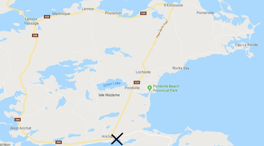 Location of Airbnb on map of Isle Madame