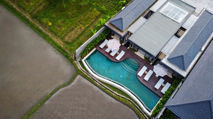 -70% Promo New 4 Bdr Ricefields View Villa Ubud