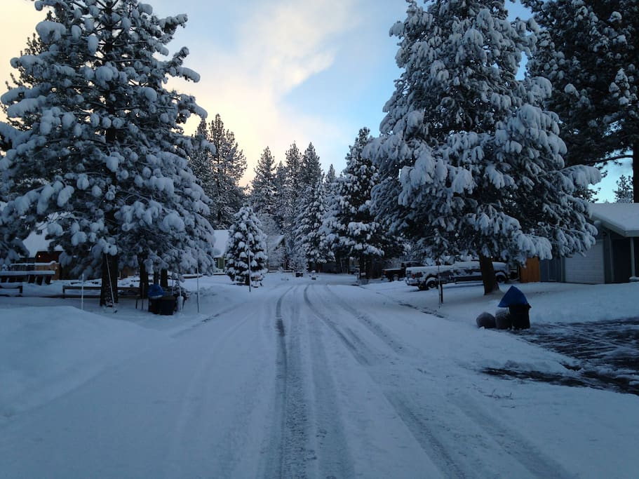 Our street in the snow - you can snowshoe to trails from the house.