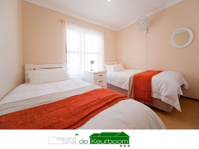 The 3rd bedroom has two single beds, a roof fan, wall heater and electric blankets. Plenty of cupboard space and crisp linen.