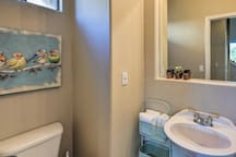 The home has 2 full bathrooms and 1 half bath.