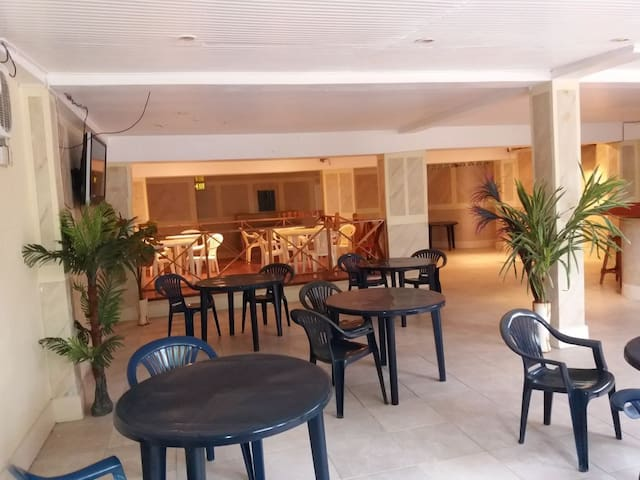 Spacious dining area.  In house restaurant and bar