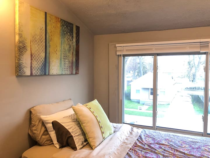 Twin Bed - Large Window - SMART TV in Room.