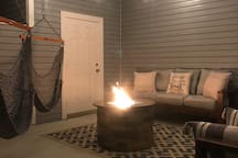 Outside seating with propane fire pit