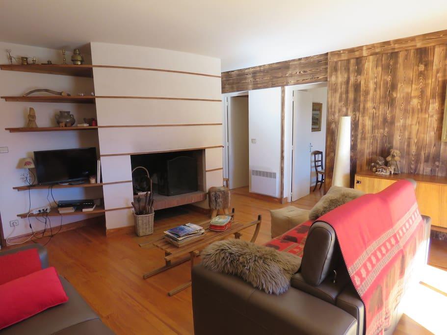 Salon avec cheminée (les Ours)