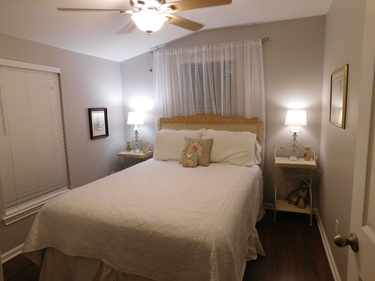 Beautiful guest bedroom with a comfortable queen bed