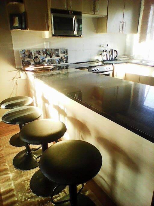 Breakfast bar in open plan downstairs