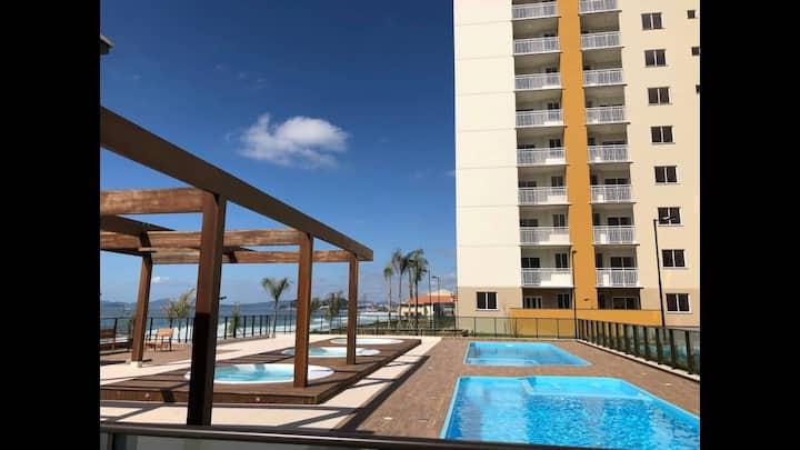 Resort em Barra Velha, Pé na areia Apto com vista