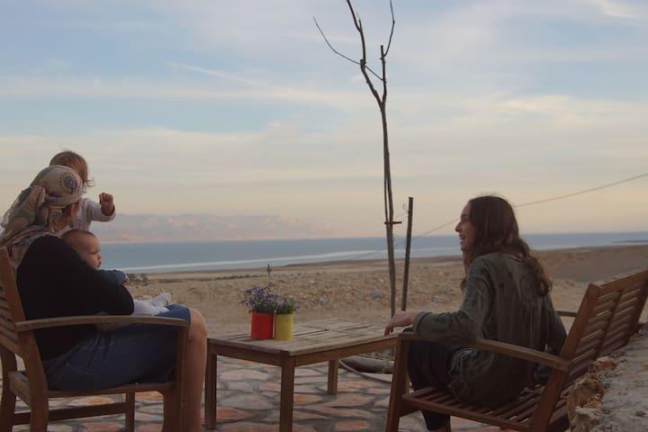 Comfortable family unit at the Dead Sea