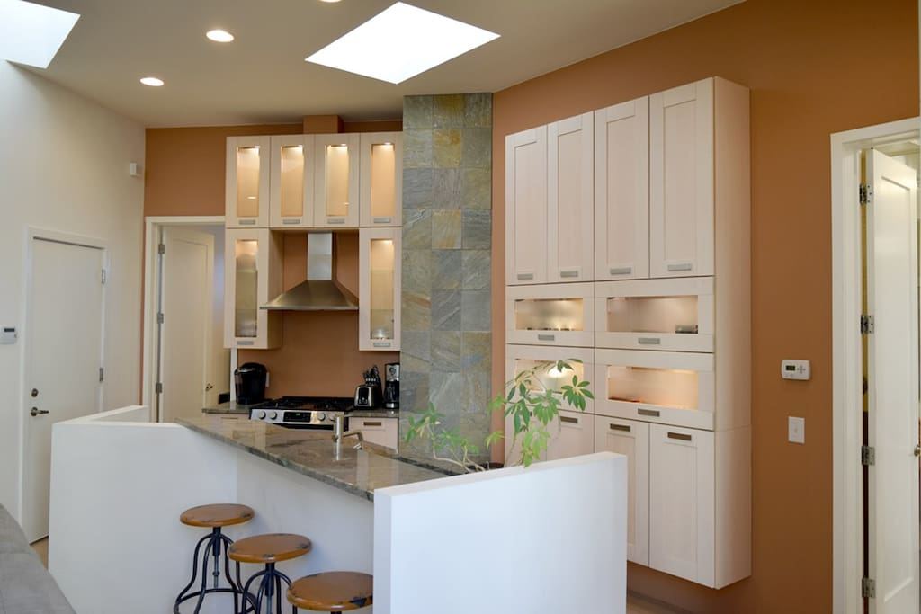 Kitchen open to living and dining