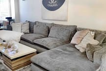Gorgeous and super cozy new couch from West Elm makes relaxing a dream