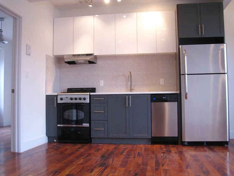 Stainless steel kitchen with dishwasher