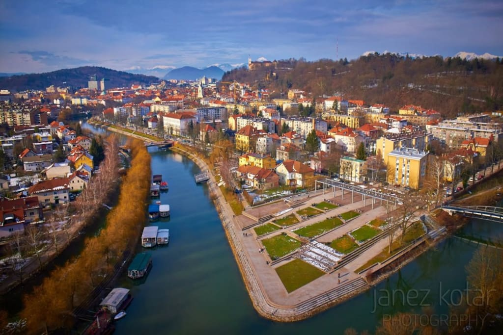 Prule are located in the ceneter of Ljubljana between Ljubljanica river and Grubarjev prekop.