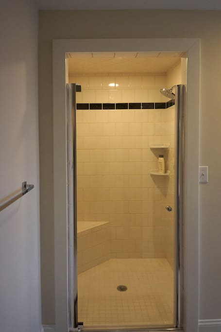 Third floor suite's shower. Big enough for racquetball.