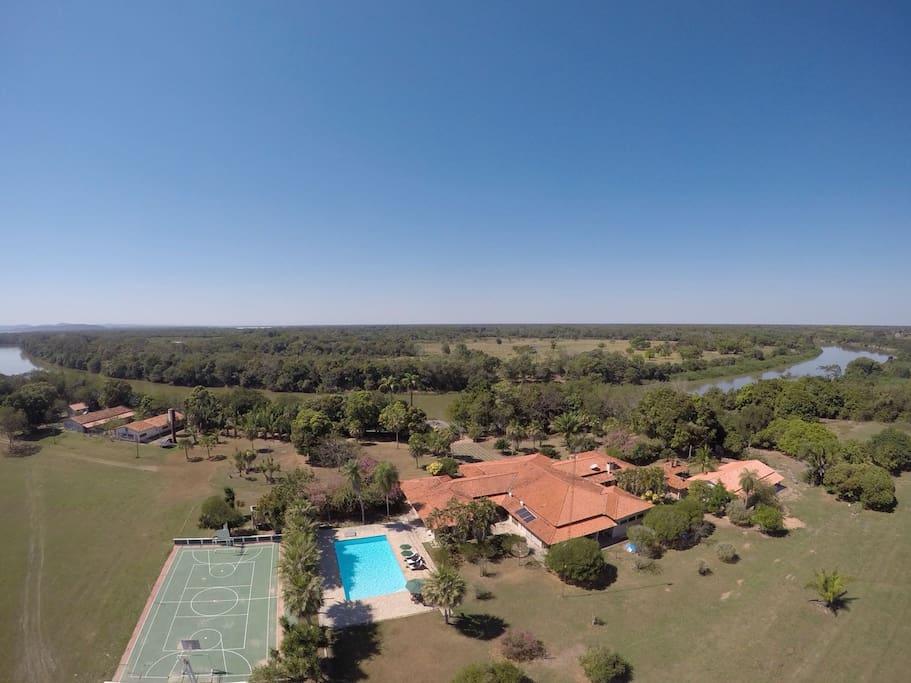 Foto drone Hotel Boutique Fazenda Usina Flecha.