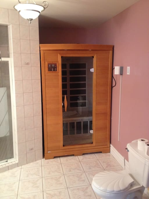 Washroom downstairs with shower but no tub