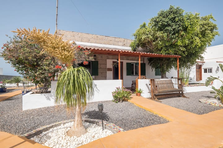 """Traditional and Quietly Situated Holiday Home """"Casa Verode"""" in Alcalá with 2 Terraces and Sea View, Garden and Wi-Fi; Pets Allowed, Parking Available"""