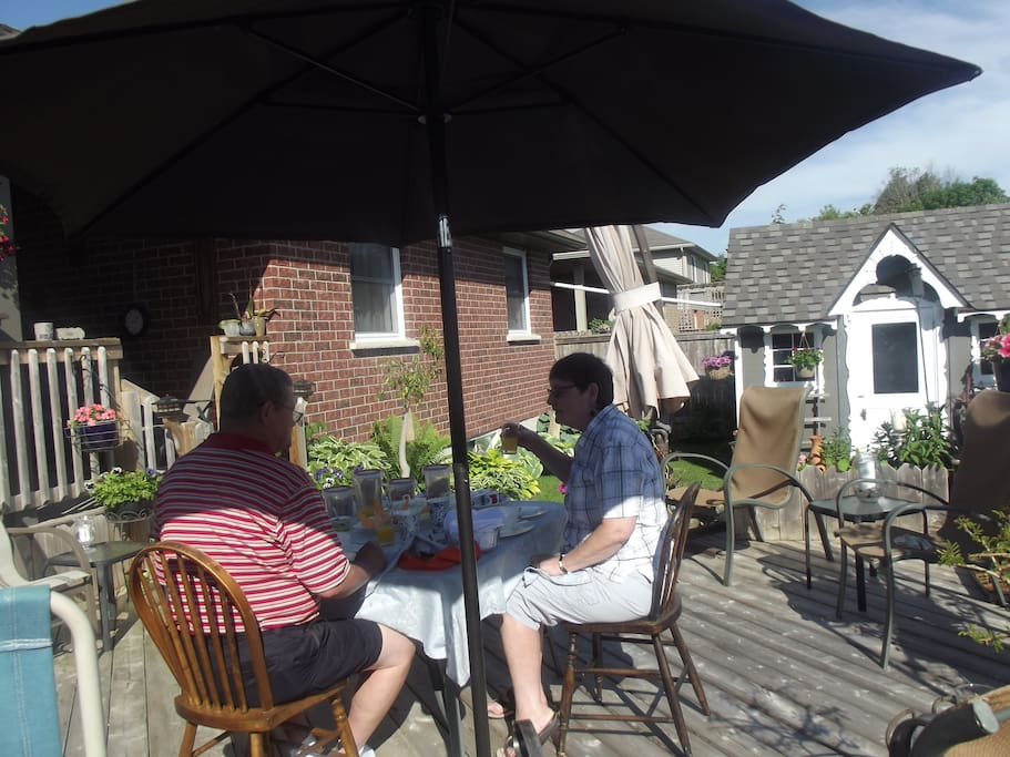 On Sunny Summer days breakfast is served on our lovely patio.