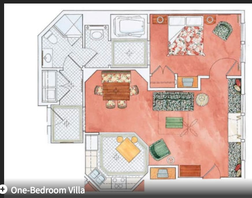 villa view and floorplan
