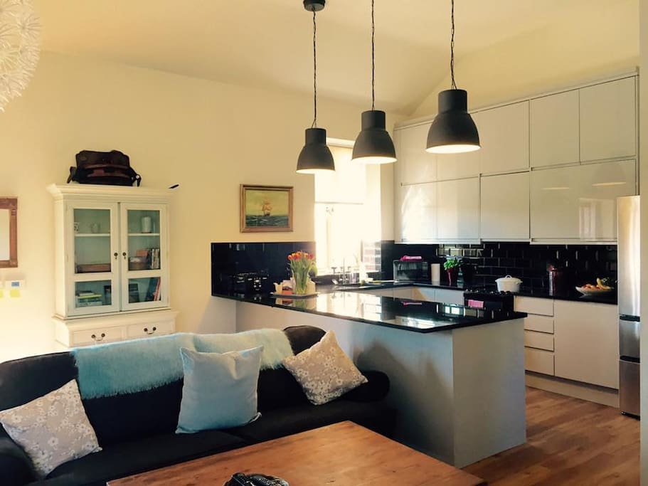 Open plan sitting dining kitchen very spacious and light.