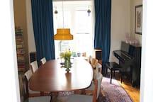 Dining room with Yamaha piano