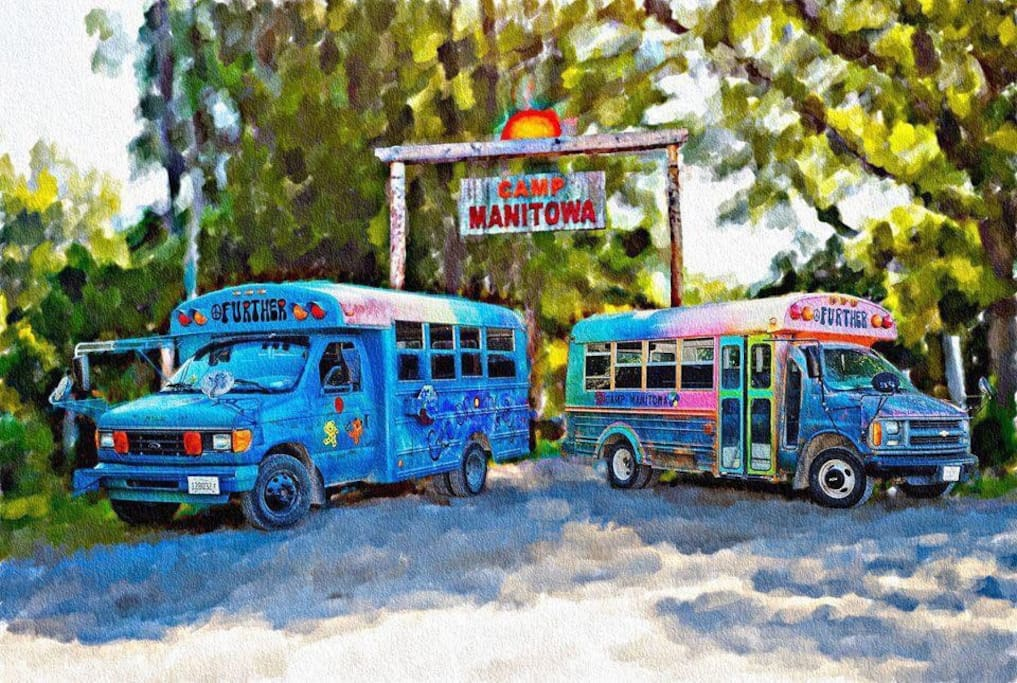 Hop on our hippie buses and begin your adventure at Camp Manitowa!