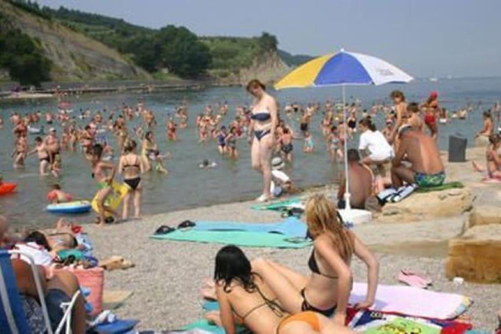 Izola's beach in summer