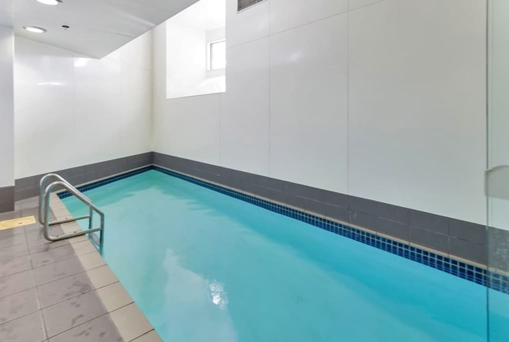 The pool inside the building