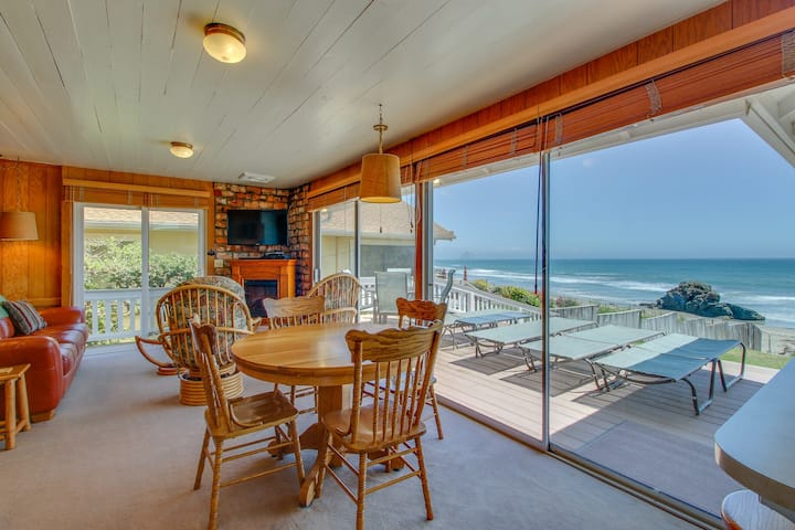 Lovely beachfront home features stunning ocean views and private yard!