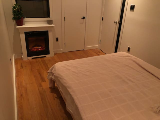 Comfortable room with fireplace accessories