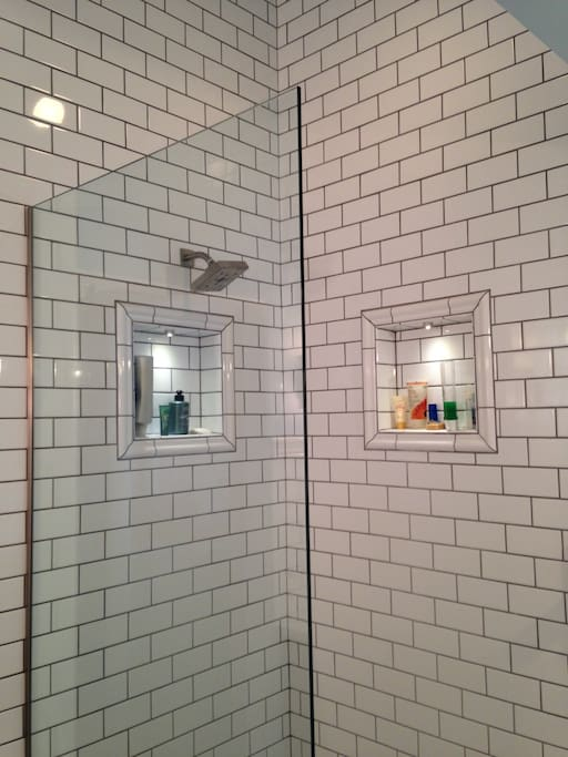 Subway tiles were used in the bathroom when we remodeled the space.