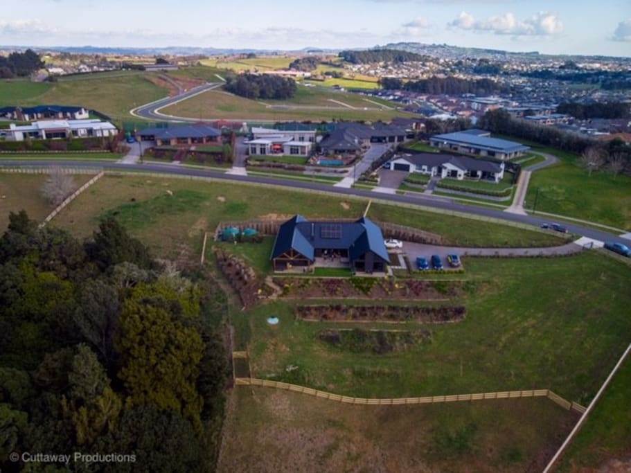 Aerial view of our property on the outskirts of Pukekohe