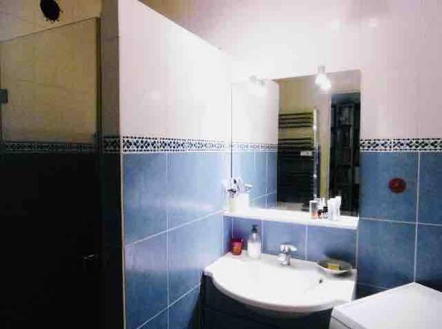 Salle de bains commune,grande douche,lave linge.  Vous disposerez de serviettes et nécessaire de toilette