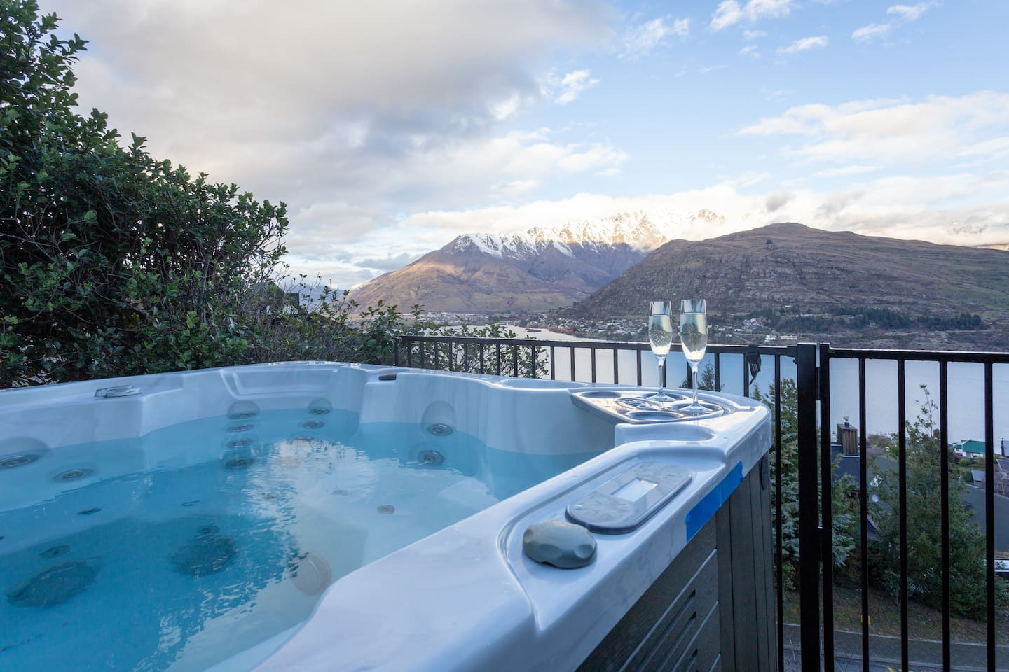 Sunrise over the Remarkables, then Sunset lights on the Remarkables, Magic any time of day from your spa, sofa or bed