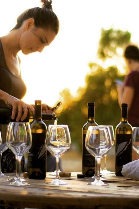 natural wine tasting at sunset